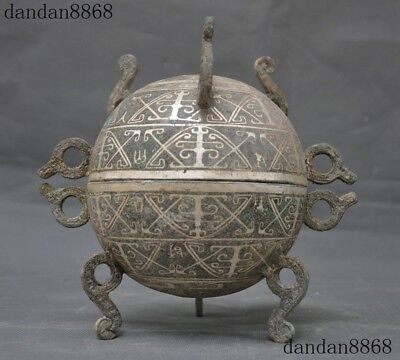 Chinese Ancient dynasty Bronze Silver Pattern Ring Statue Incense burner Censer