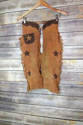 Vintage Child's Western Cowboy Star Fringe Leather Suede Chaps