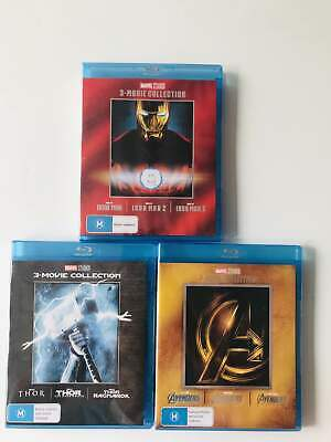 THOR IRON MAN Avengers 3-Movie Collection Blu-ray 1-3 Trilogy Marvel 1 2 3 Lot