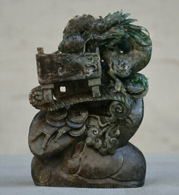 Chinese Natural Dushan Stone Jade Carved Zodiac Year dragon Wealth Coin Statue