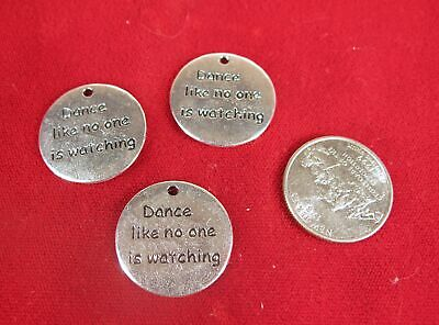 """5pc """"Dance like no one is watching"""" charms in antique silver style (BC1410)"""