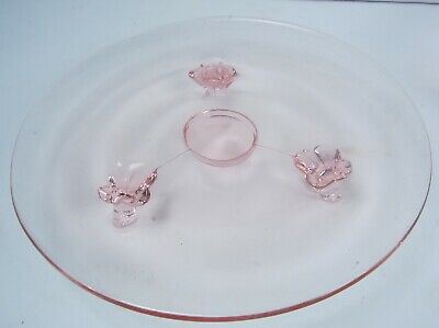 """Vintage Pink Depression Glass Footed Stand Serving Plate Apps ~ Sandwich 7 3/4"""""""