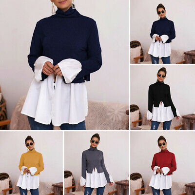 Womens Tops Ladies Blouse Party Pleated Tunics Fashion Tops Loose Long Sleeve
