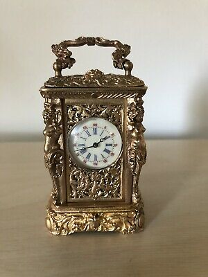 Miniature Gilt Case Carriage Clock With Key