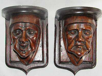 08C21 Pair Antique Console Bracket Wall Head Wood Carved Flanders XIX ° Th
