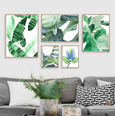 Cactus Green Plant Leaves Canvas Painting Picture Wall Hanging Nordic Art Poster