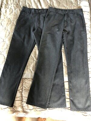Next School Trousers Grey, Boys 13 Years, Flat Fronted, Slim/Straight, 2 Pairs.