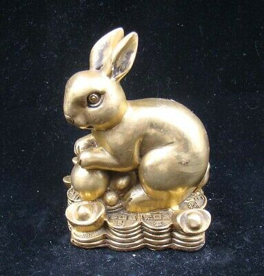 Collectible Handmade Carving Statue Figurine Brass Chinese Zodiac Rabbit