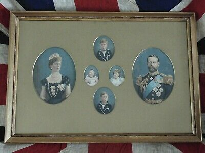 Antique King George V & Queen Mary Framed Silks