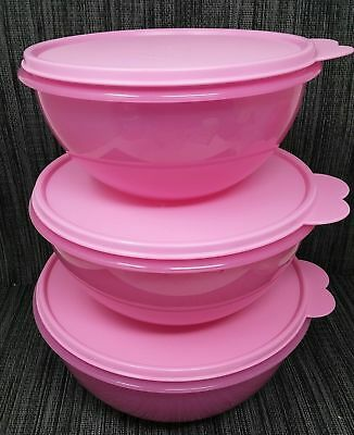Tupperware Wonderlier Classic Nesting Mixing Bowls , 6,8,10.5 Cup New