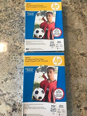 "200 HP Advanced Photo Paper 4""X 6"" Glossy Inkjet 10.5mil 2 Packs Of 100 NEW"