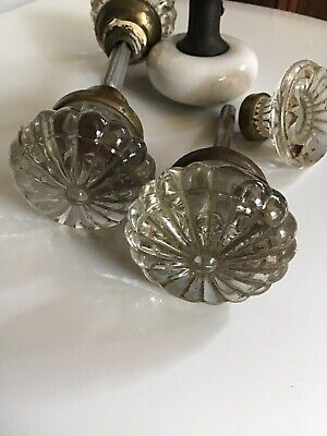 Antique Victorian Floral Crystal Porcelain Door Handle Cabinet Pulls Salvage Vtg