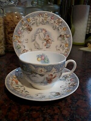 Royal doulton snowman trio plate cup and saucer