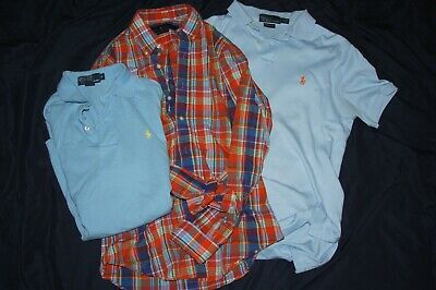Lot of 3 Polo by Ralph Lauren Mens Small Polo Shirts Button Up Pony Logo Cotton