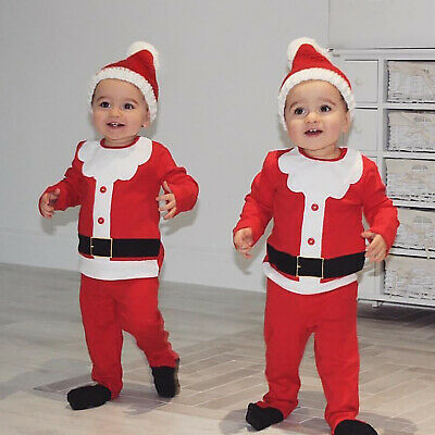 Kids Baby Boys Girls Christmas Lovely Santa Claus Costume Tops Pants Hat Outfits