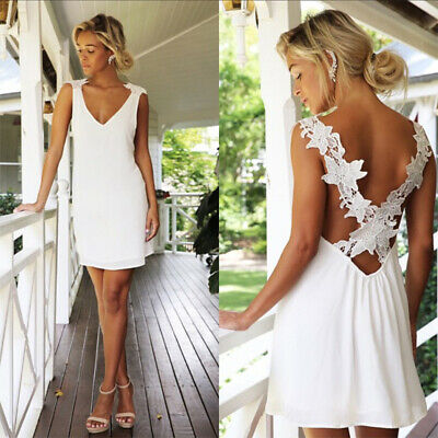 Summer Women Boho Sleeveless Backless Beach Mini Dress Holiday Strappy Sundress