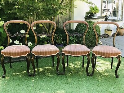 Set of Four Good Quality Victorian Rosewood Balloon Back Dining Chairs