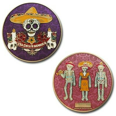Day Of The Dead - Gold Geocaching Geocoin Coin Trackable Tod