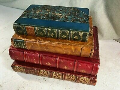 Antique Leather Bound Books Shabby Chic Decor Props Farmhouse Rustic