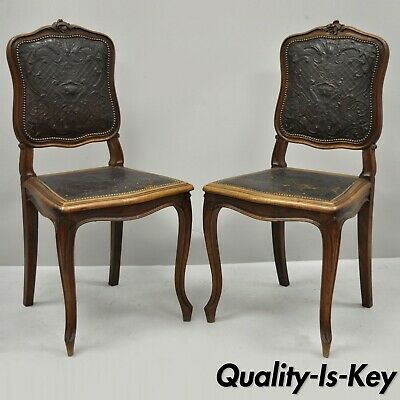 Pair of Antique French Louis XV Fancy Brown Embossed Leather Walnut Side Chair