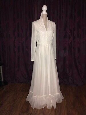 FABULOUS Vintage 1970s Boho Medieval White Wedding Dress Hippy Size 10 / 12