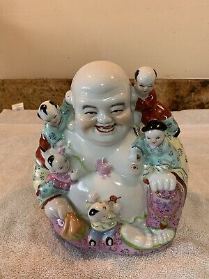 OLD  CHINESE PORCELAIN FAMILLE ROSE BUDDHA w/CHILDREN MARKED