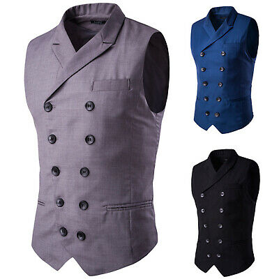 Men Lapel Collar Double Breasted Waistcoat Causal Slim Formal Business Vest Suit