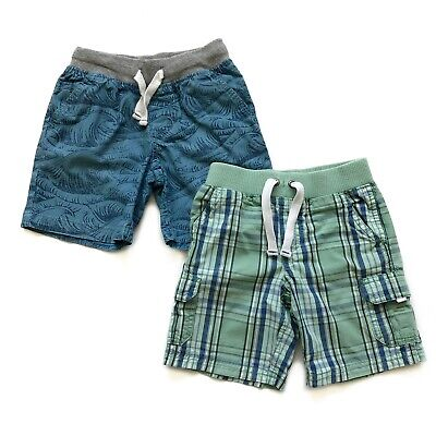 Boys 4T Shorts Lot Green Plaid Blue Wave Pull On Flat Front Carters Cat & Jack