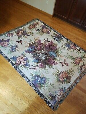 Mint Seraphim Classics Caroline Garden Song Tapestry Afghan Throw Blanket Rare!