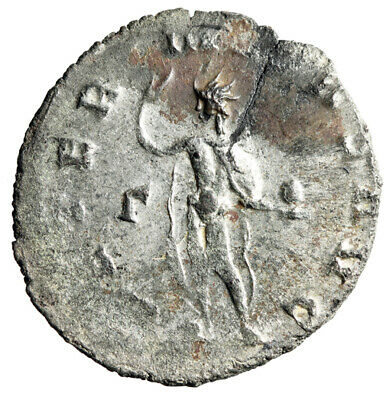 """ROMAN SUN god Sol Coin of Gallienus """"Holding Globe, Salute"""" Silvered CERTIFIED"""