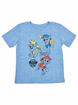 Boys Toddler Paw Patrol Chase Marshall Rubble T-Shirt Heather Blue Soft