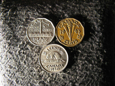 set GA1 Coin Set Canada 5 cents George VI,WWII 1940-1943Tombac-1951comm