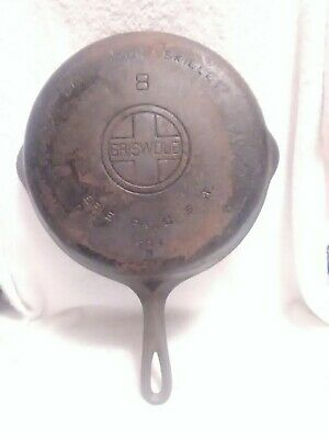 Antique No 8 Griswold Cast Iron Skillet Iron Frying Pan LARGE BLOCK
