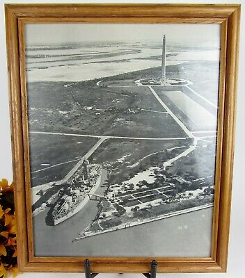 Vintage Framed Print 1950's Picture The San Jacinto Monument & Battleship Texas
