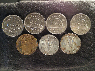 SET EA6 coin lot Canada 5 cents George VI WWII 1939-1940-1941-1942-1943tombac-19