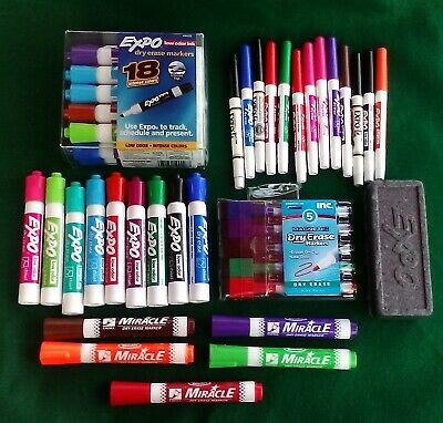50 pc Dry Erase marker lot, EXPO, Rose Art & more,   Free shipping!!