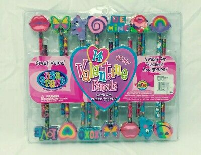 Lisa Frank 14 Valentine Pencils With Cool Eraser Toppers
