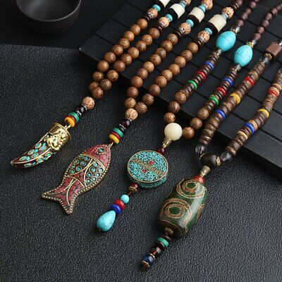 Nepal Buddhist Mala Beads Ethnic Long Lucky Pendant Necklace Handmade Retro Gift
