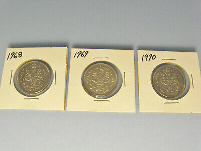 Lot of 3 Canada 50 cent coins....1968,1969,1970