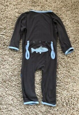 """Kickee Pants Gray """"Fish"""" Coverall. Baby Boys Size 6-9 Months."""