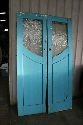 Pair Vintage Antique Timber Doors French Provincial Shabby Chic Glass Saloon