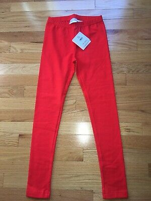 New Hanna Andersson Girls Bright Tangy Red Basic Leggings Size 140 10 Years