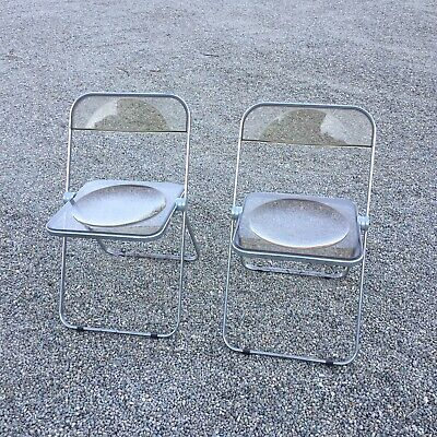 Set of 2 -1960's Italian Castelli Plia Clear Brown Acrylic Lucite Folding Chairs