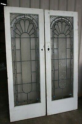 Art Deco Vintage Antique Lead Light Timber Doors French Provincial Glass Saloon