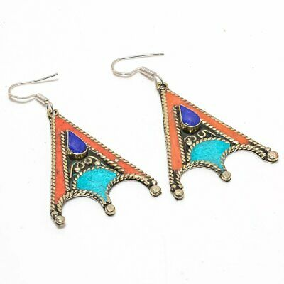 Exclusive Tibetan Lapis, Coral, Turquoise 925 Sterling Silver Earring 4607
