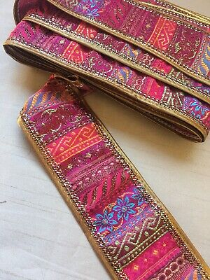 Pink Gold Embroidered Indian Sewing Trim Per Meter