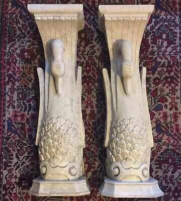 Pair Of French Empire Swan Columns Architectural Wall Hanging Carved Table Base