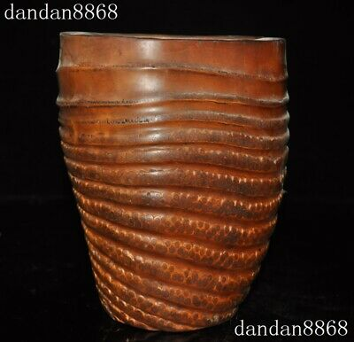 Chinese Bamboo root wood Carved dynasty calligraphy Brush pot pencil vase Statue