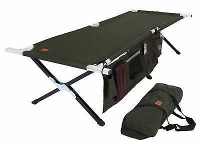 """Tough Outdoors Camping Cot Folding Military Army Green Camp Bed Large 75"""" X 25"""""""