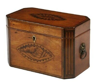 Fine Antique Satinwood Tea Caddy, Couch Inlays, Cantered corners.